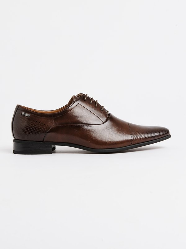 GINO PAOLI Perforation Toe Oxford Cap Shoe Brown