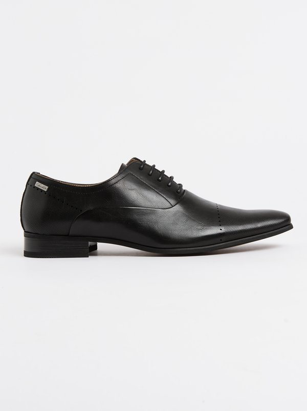 GINO PAOLI Perforation Toe Oxford Cap Shoe Black