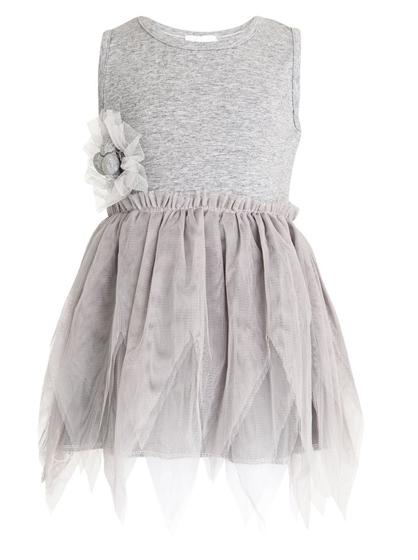 POP CANDY Tulle Combo Dress Grey