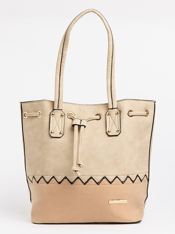 BLACKCHERRY Two-tone Bucket Bag Camel