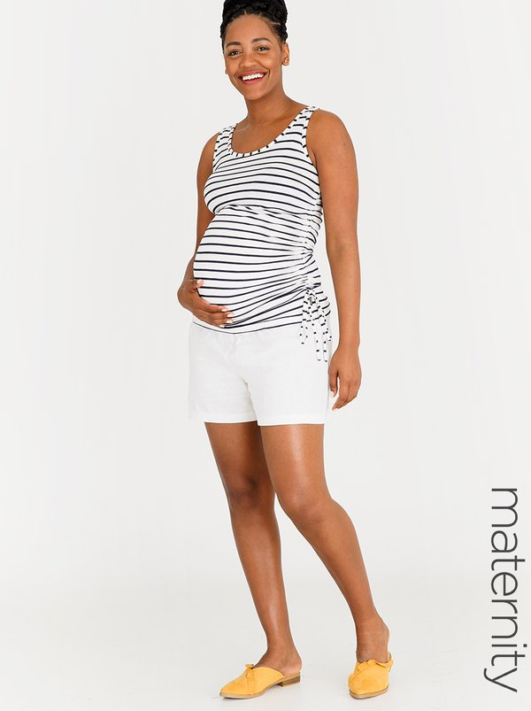 edit Maternity Linen Fold-over Shorts White