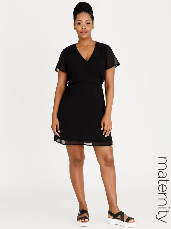 edit Maternity Flutter Sleeve Dress Black