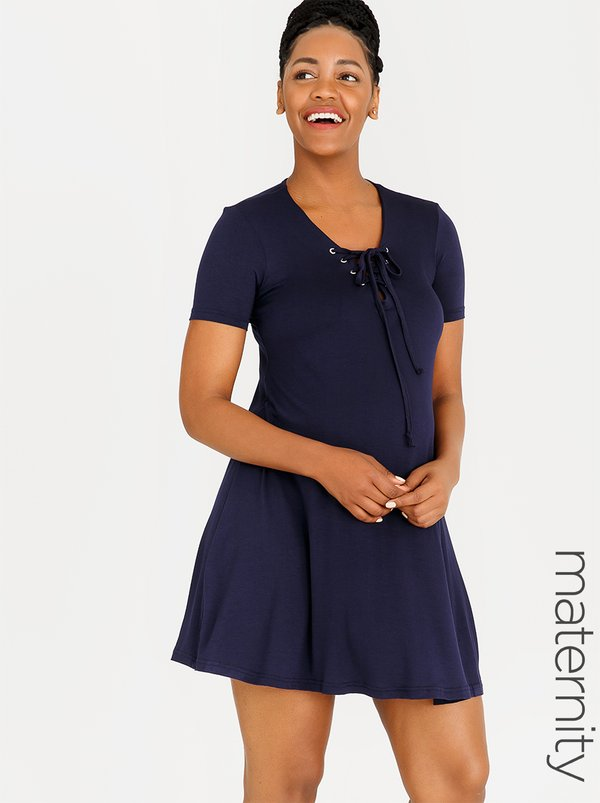 edit Maternity T-shirt Dress with Lace-up Detail Navy
