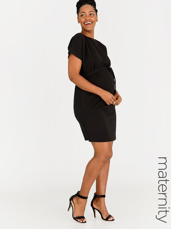 edit Maternity Front Tie Dress Black