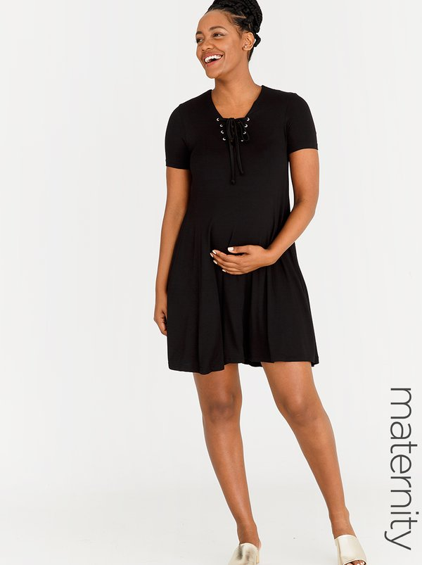 edit Maternity T-shirt Dress with Lace-up Detail Black