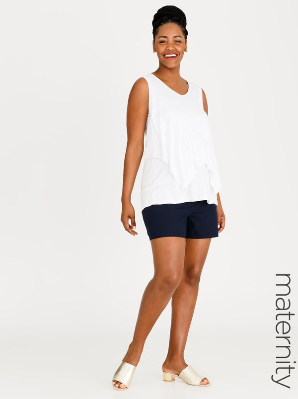 edit Maternity Linen Fold-over Shorts Navy