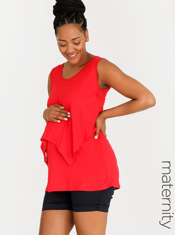 edit Maternity V-neck Nursing Top Red