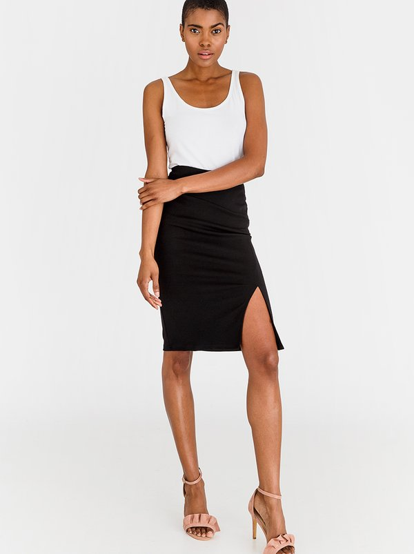 edit High Waisted Pencil Skirt Black
