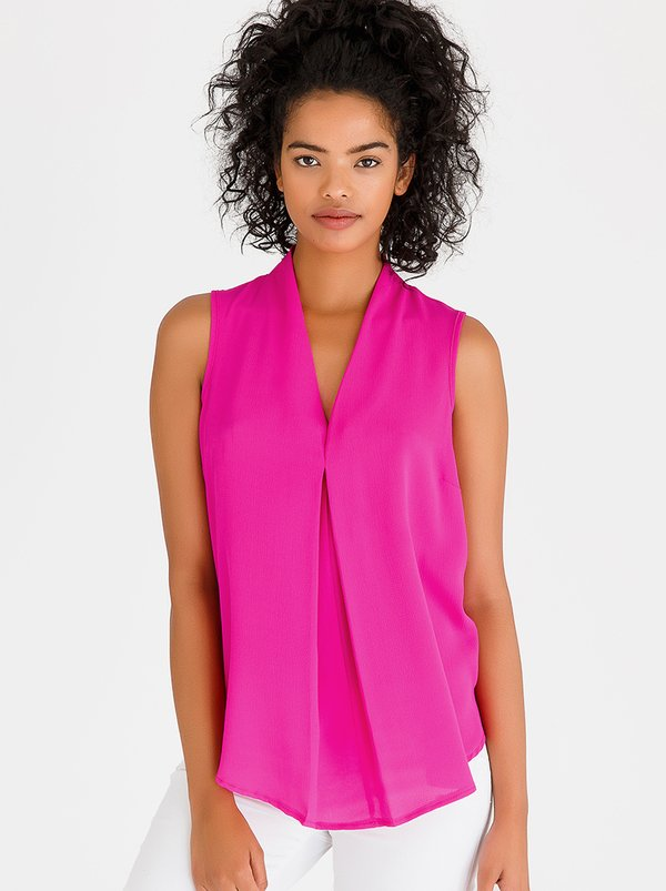 edit V-Neckline Shell Top Mid Pink
