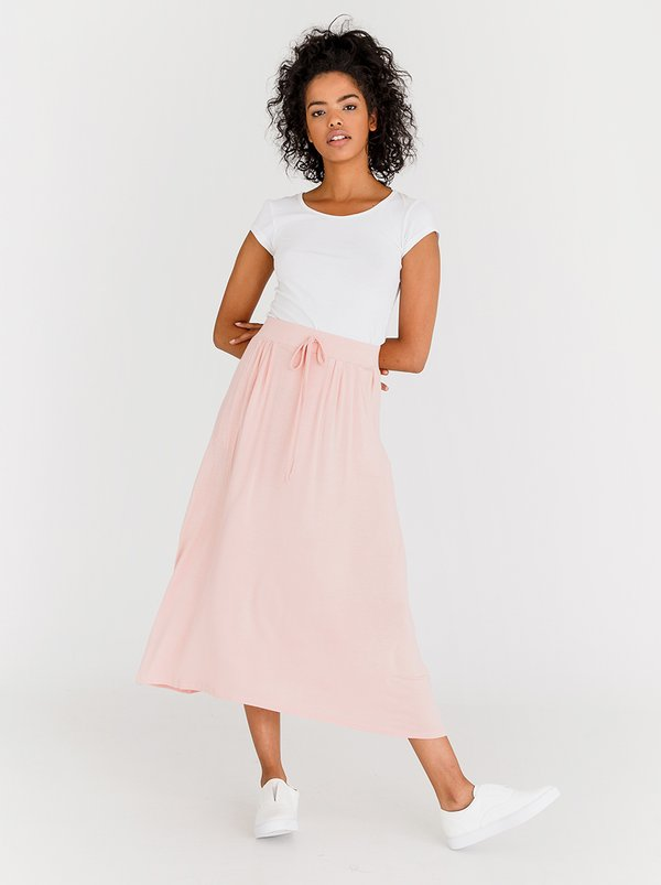 edit Stretch Maxi Skirt with Front Pockets Pale Pink