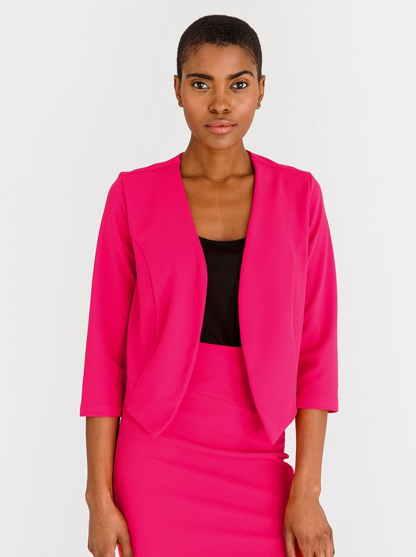 edit 3/4 Sleeve Cropped Jacket Mid Pink