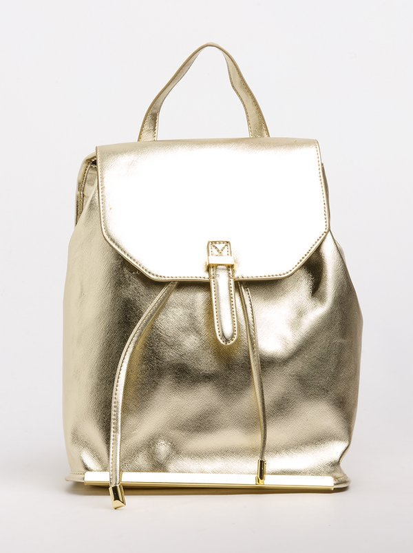 Marie Claire Metallic Backpack Gold