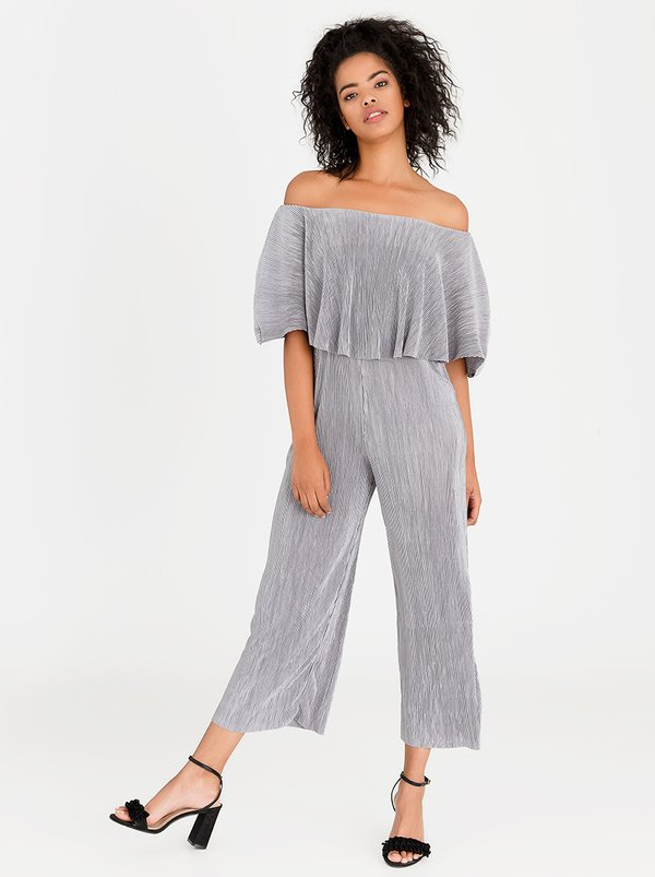 edit Bardot Pleated Jumpsuit Dark Grey