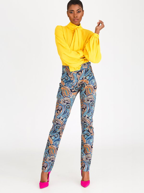 DAVID by David Tlale Paisley Print Skinny Pants Blue