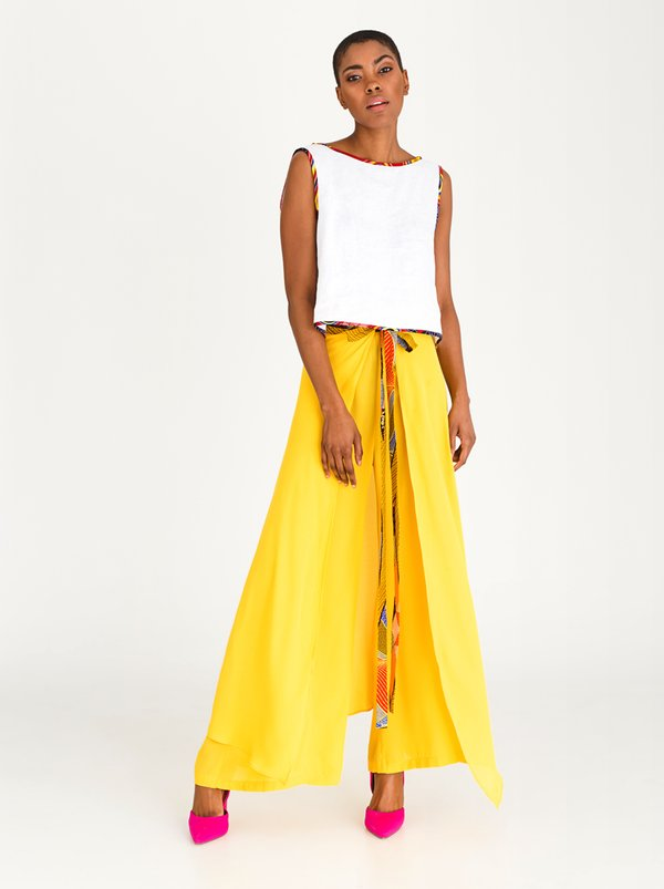 DAVID by David Tlale Palazzo Wrap Pants Yellow