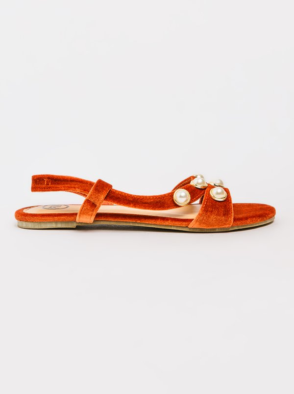 FOOTWORK Pearl Detail Sandals Burnt Orange