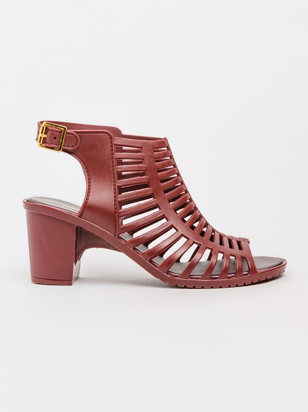 Urban Zone Jelly Strappy Heels Burgundy
