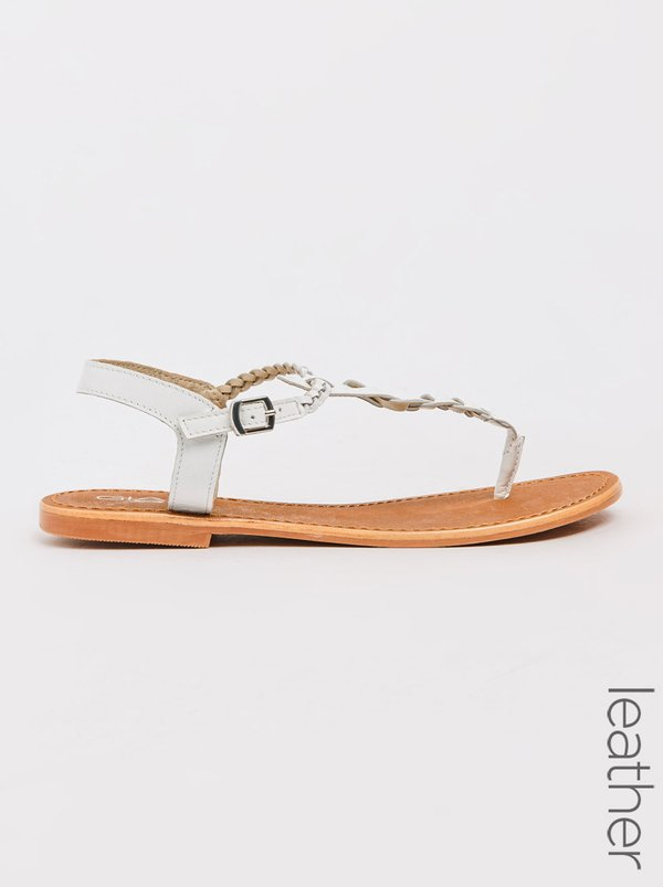 Gia by Queue Plaited Leather Sandals White