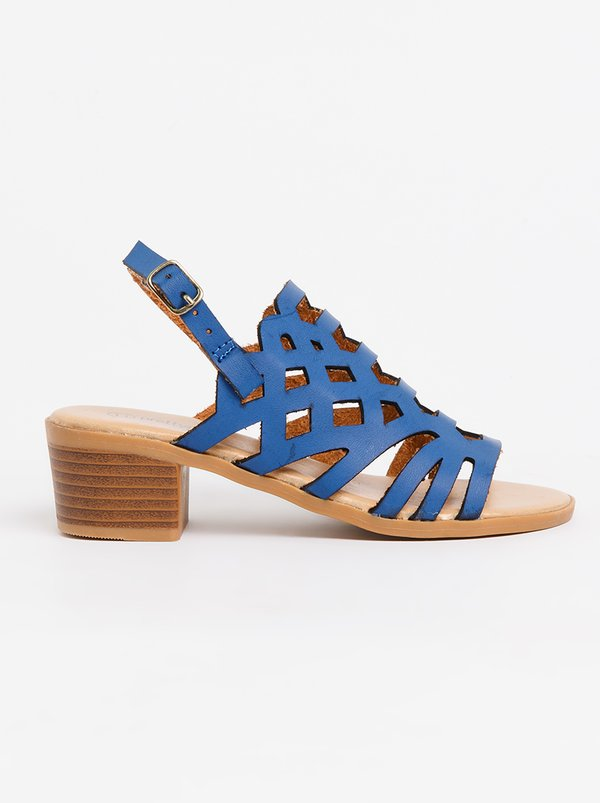 Jumbo Cut-Out Block Heel Navy