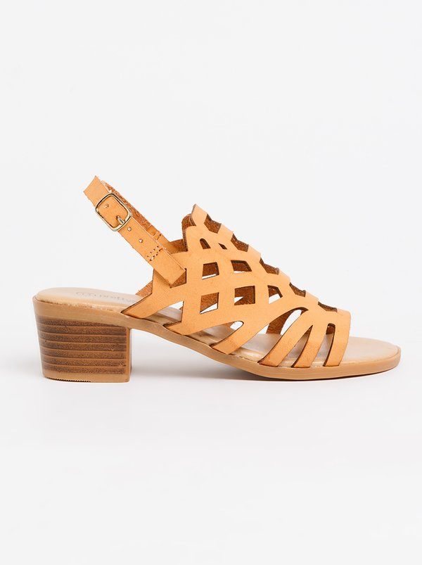 Jumbo Cut-Out Block Heel Tan