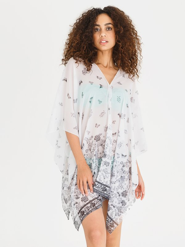 Lithe V-neck Printed Kaftan White