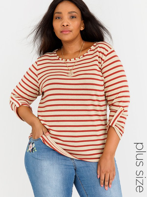 edit Plus Stripe Top with Chain Red