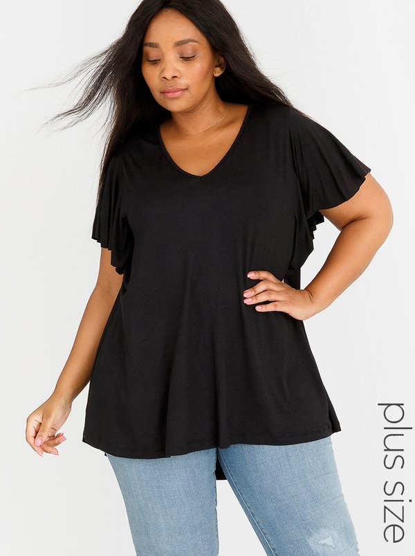 edit Plus Flutter Sleeve Top Black
