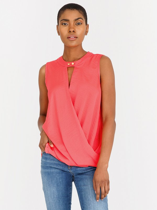 Contempo Essential Sleeveless Hammered Satin Top Coral