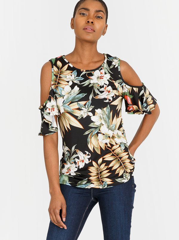 Contempo Essential Slinky Paisley Printed Top Black