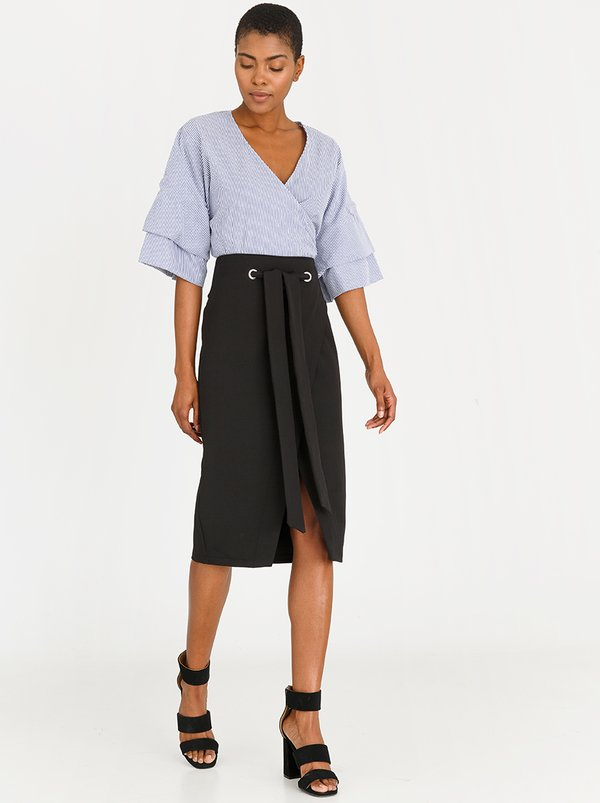 Eyelet Wrap Skirt Black   STYLE REPUBLIC