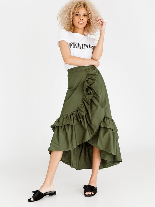 High Low Frill Skirt Dark Green | STYLE REPUBLIC