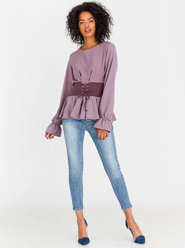 Corset Inspired T-shirt Mid Purple   STYLE REPUBLIC