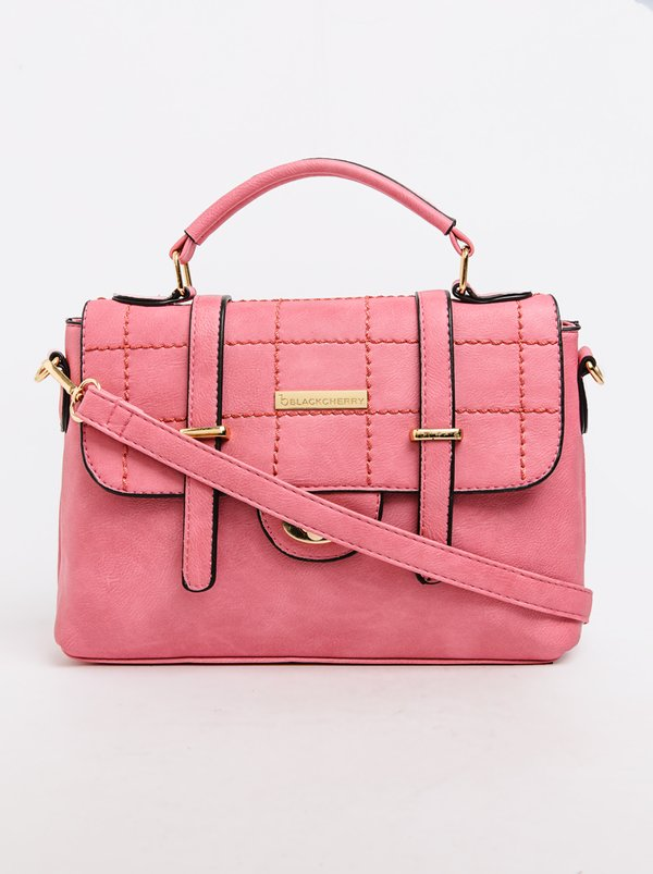BLACKCHERRY Quilted Satchel Bag Mid Pink
