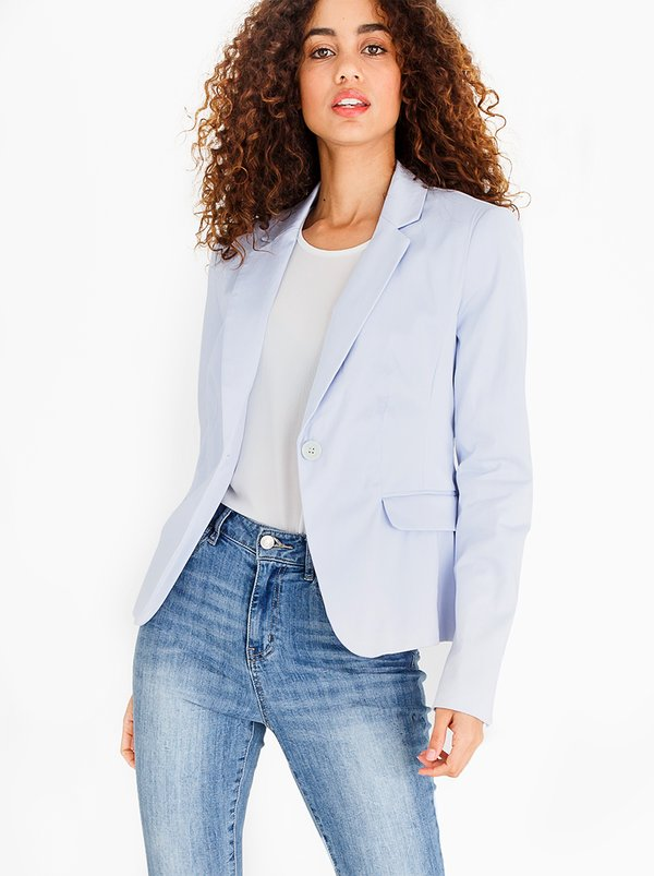 edit Semi-fitted Blazer Pale Blue