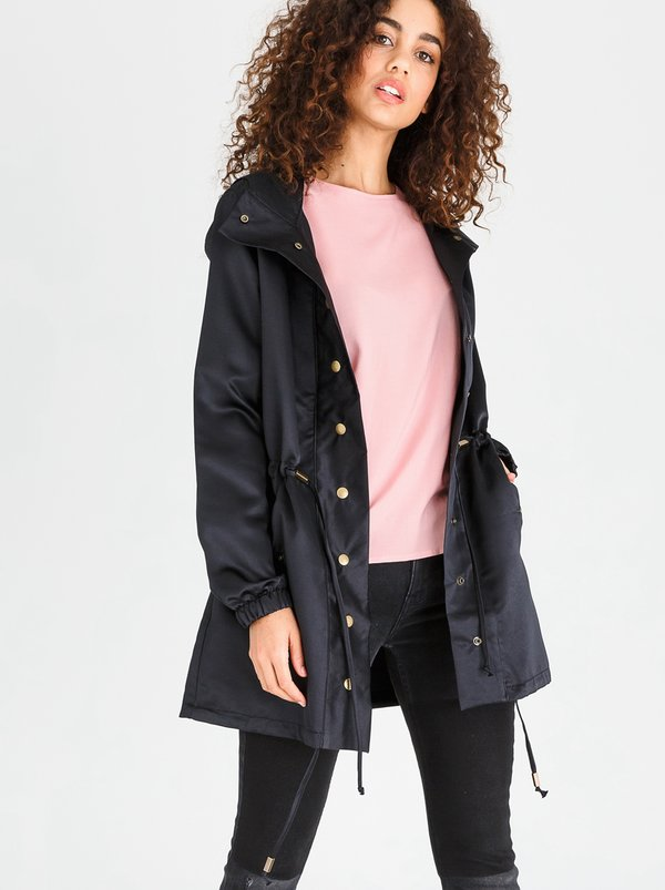 edit Textured Matt Satin Parka Jacket Black
