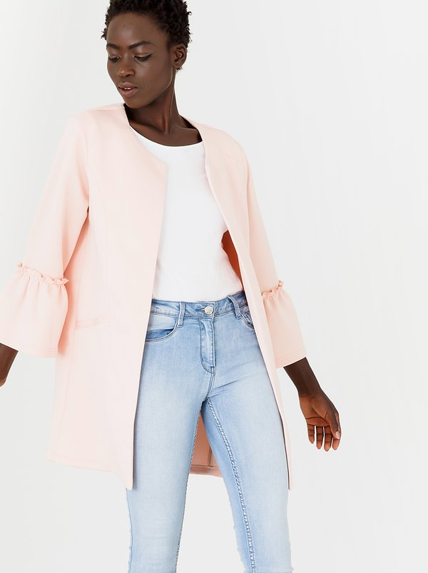 edit Bell Sleeve Lined Coat Pale Pink