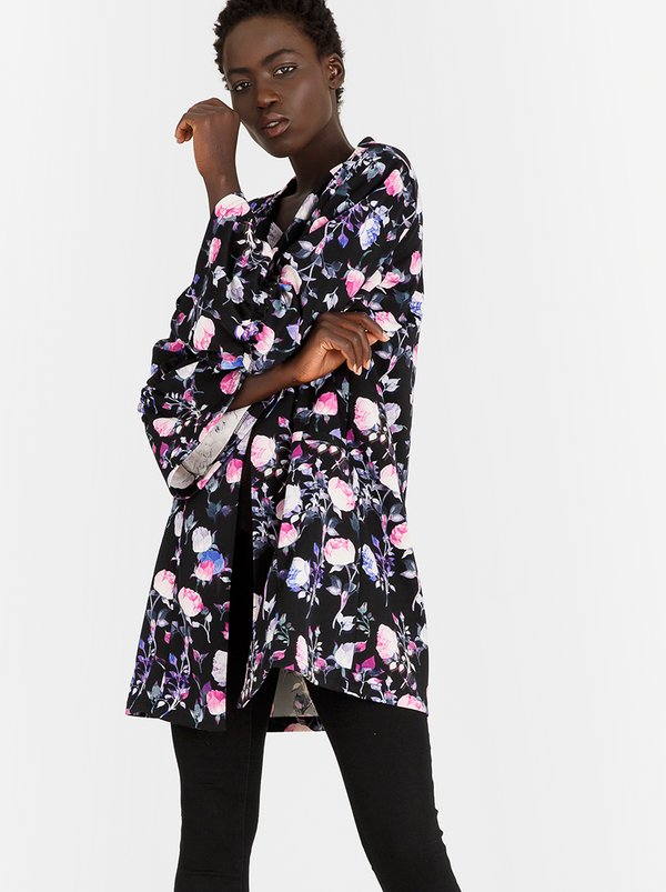 edit Bell Sleeve Lined Coat Floral