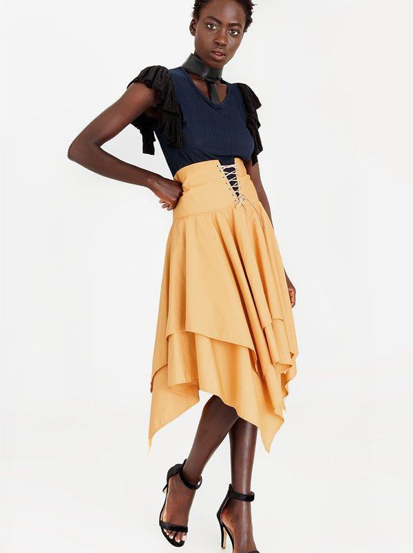 Victoria High-Waist Corset Skirt Gold   Sober
