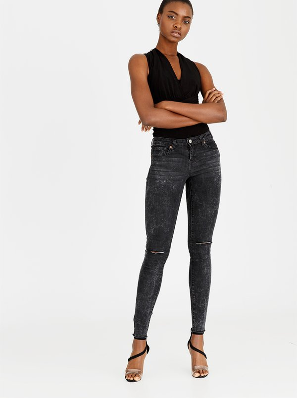 Brave Soul Marble Wash Ripped Knee Skinny Jeans Black