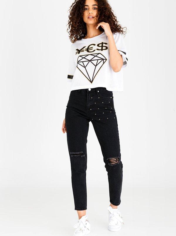 Stud Detail Mom Jeans Black | Brave Soul