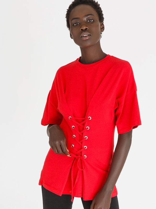 Lace-Up Corset Tee Red   c(inch)