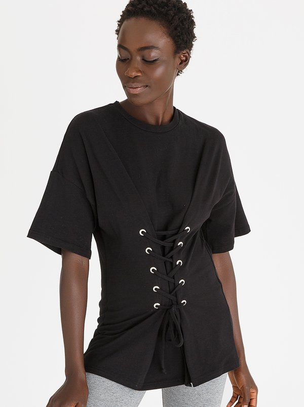 Lace-Up Corset Tee Black   c(inch)