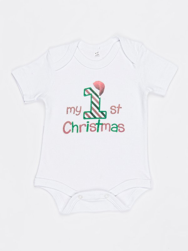 Funky Shop Slogan Baby Grow White