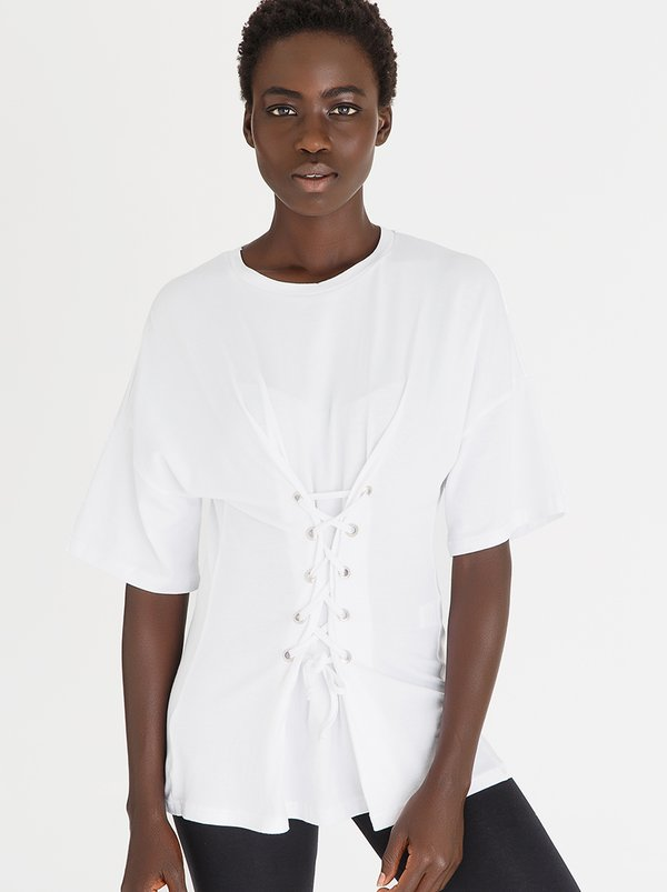 Lace-Up Corset Tee White   c(inch)