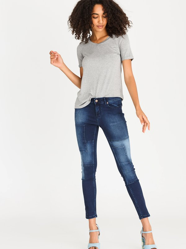 STYLE REPUBLIC Patch Detail Skinny Jeans Dark Blue