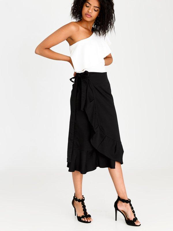 Wrap Midi Skirt Black   STYLE REPUBLIC