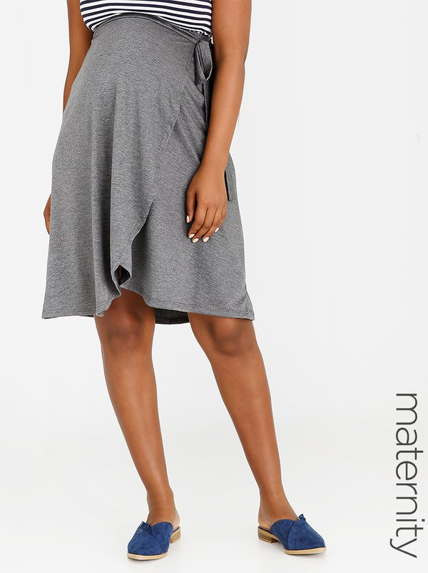 edit Maternity Wrap Skirt Grey Melange