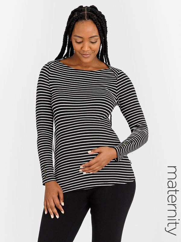 Cherry Melon Boat-Neck Top with Long Sleeves Black and White
