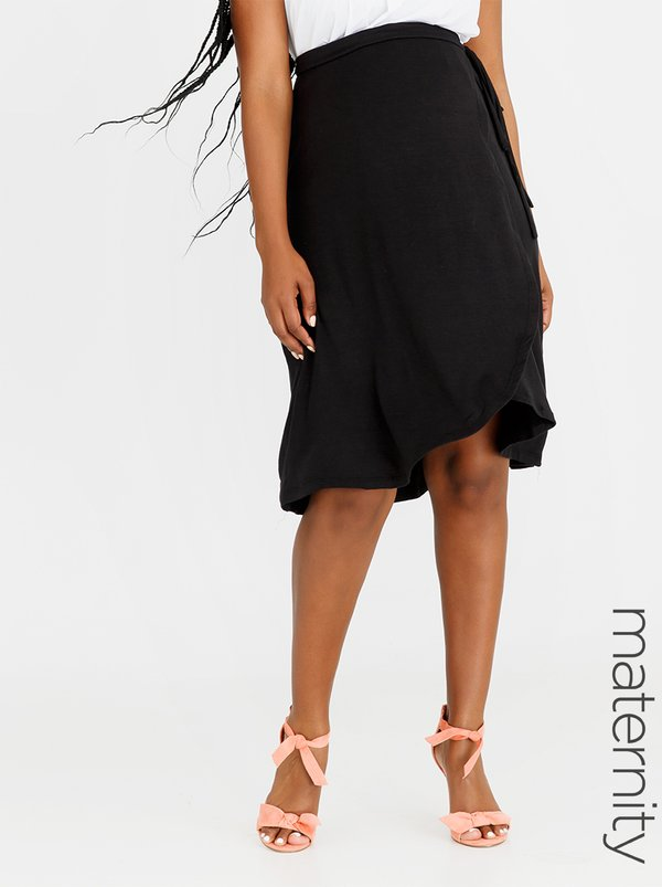 edit Maternity Wrap Skirt Black