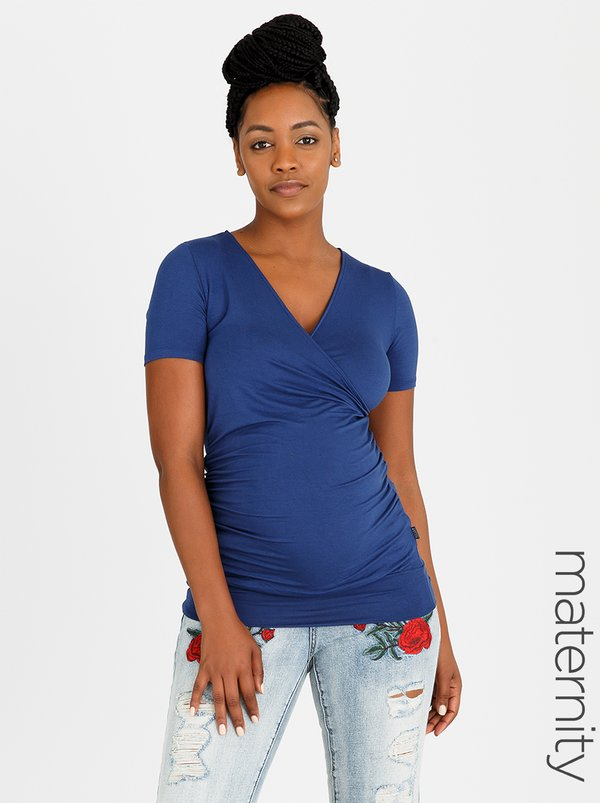 Cherry Melon Gauged Mock Wrap Tee Dark Blue